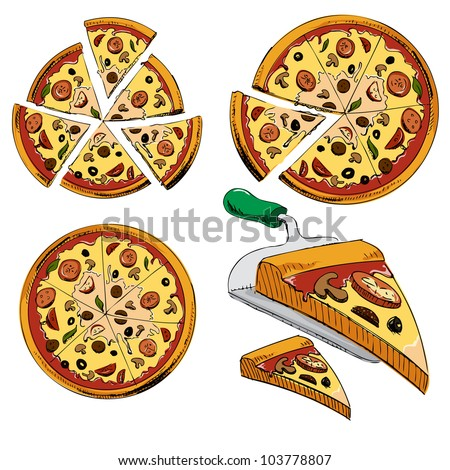 Collection of sliced pizza isolated on white background. Hand drawing sketch vector illustration