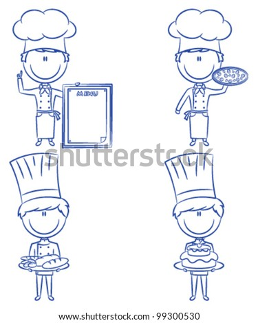 Collection of smart cute chef men isolated on white background