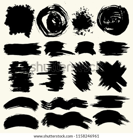 Collection of smears with black paint, strokes, brush strokes, stains and splashes, dirty lines, rough textures. Elements of artistic design. #1158246961