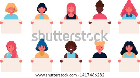 Collection of smiling young girl and women holding clean placards. Bundle of joyful female cartoon characters demonstrating empty banners. Colorful vector illustration flat style. Feminism, activists