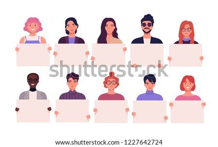 Collection of smiling young men and women holding clean placards. Bundle of joyful male and female cartoon characters demonstrating empty banners. Colorful vector illustration in flat style.
