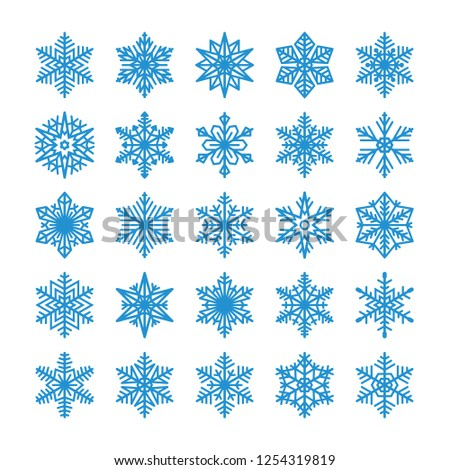 Collection of snowflakes isolated on white background. Flat line  icons for christmas and winter decoration. Vector illustration.