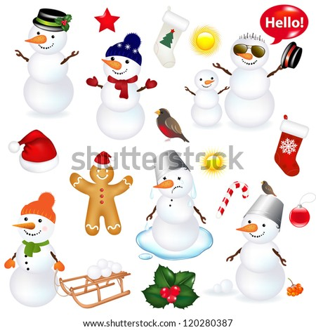 Collection Of Snowmen And Christmas Icons, Isolated On White Background With Gradient Mesh, Vector Illustration