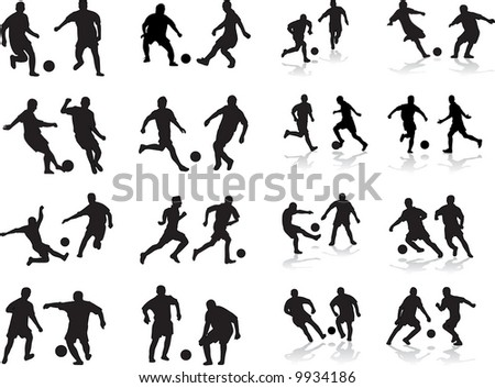 collection of soccer silhouettes - stock vector