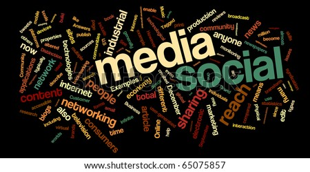 Collection of social media and networking related words for design projects.