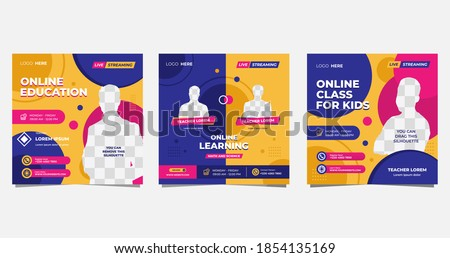 Collection of social media post template for Online Education, Online class program, Courses and other E-Learning. with Memphis style and Purple, Pink, Orange color background