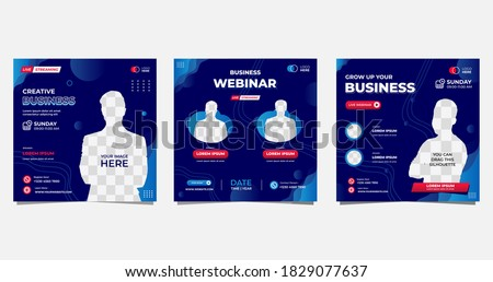 Collection of social media post templates. Vector graphic of aquatic background with blue color and wave shapes, perfect for business webinars, marketing, online class and other online seminar