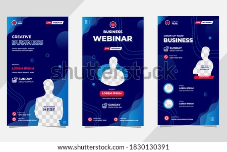 Collection of social media stories post templates. Vector graphic of aquatic background with blue color and wave shapes, perfect for business webinars, marketing, online class and other online seminar