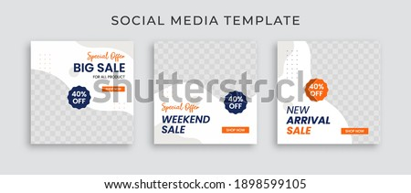 Collection of social media template post. Web banner sale for ad. Design with blue and orange color. Instagram template post.