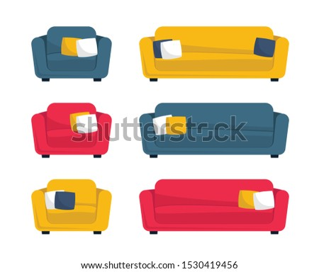 Collection of sofas and armchairs. Set of couch. Vector illustration in flat cartoon style