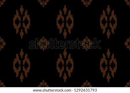 Collection of songket batik patterns on a black background. Vector illustration of trendy trendy in flat style for wrapping paper, textile printing, wallpaper