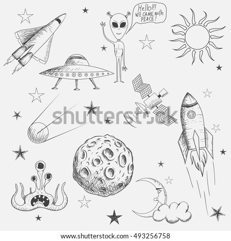 Collection of space objects isolated on white background. Hand drawn style.Vector illustration