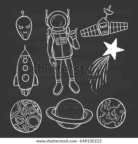 collection of space objects with satellite, star, planets and astronaut on chalkboard background