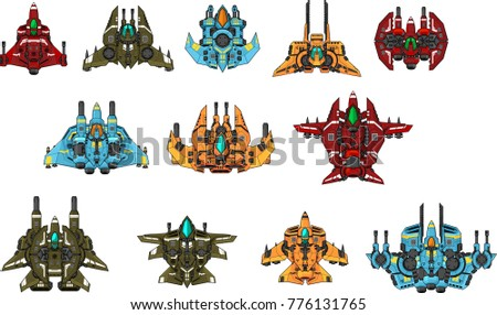 collection of space ships for