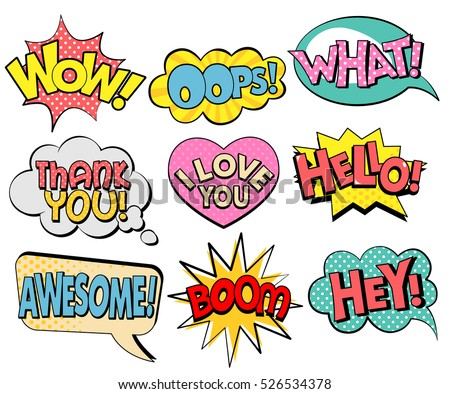 Collection of speech bubbles in retro style. Vector illustration isolated on white background