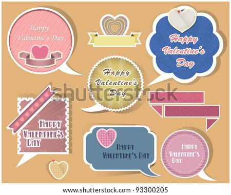 Collection of speech bubbles valentine's day vector - stock vector