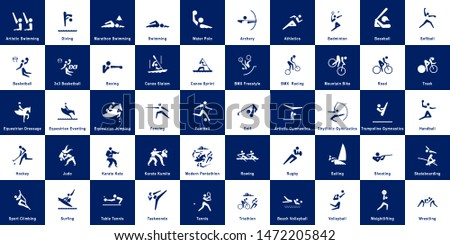 Collection of 50 sport pictograms on blue and white background. Vector pictograms