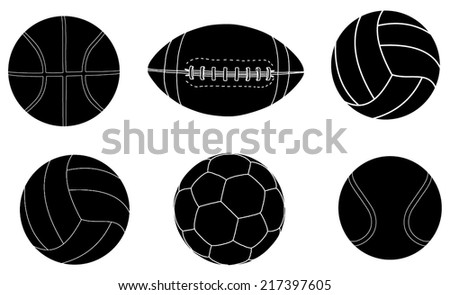 Collection Of  Sports Balls Vector silhouette Illustration isolated on white background.