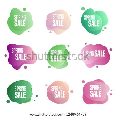 Collection of spring sales buttons - to use to promote seasonal discounts