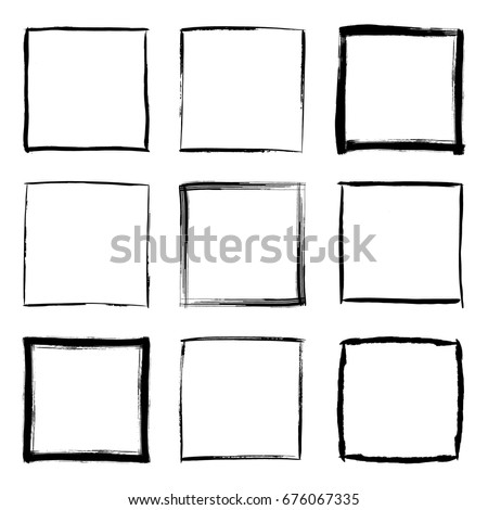 Collection of square black hand drawn grunge frames, borders set. Set of design elements. Vector illustration in black isolated over white.