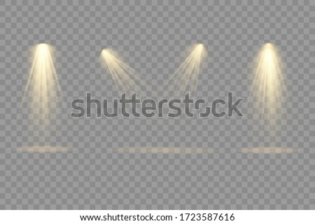 Collection of stage lighting spotlights, scene, stage lighting large collection, projector light effects, bright yellow lighting with spotlights, spot light isolated on transparent background, vector.
