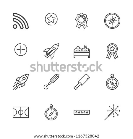 Collection of 16 star outline icons include icons such as ratings, medal, double bed, startup, fireworks, rss, sparkler, compass, basketball court, cricket, rocket, add button