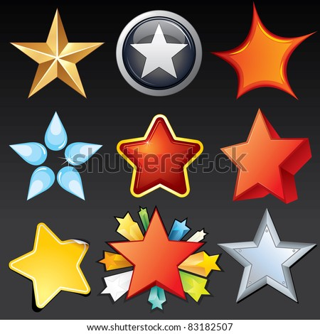 Collection of Star Shaped Design Elements, Icons, Buttons, Logos.