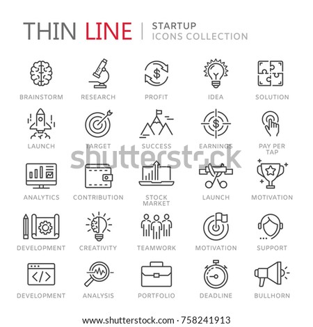 Collection of startup thin line icons Stock photo ©