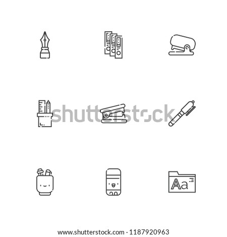 Collection of 9 stationery outline icons include icons such as binder, pencil case, pen, fonts, stapler remover, glue stick