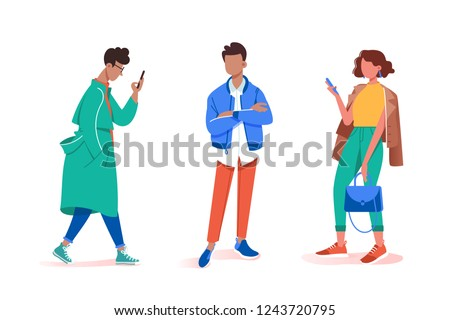 Collection of stay and wait various male and female poses. Concept set young man and woman model with cellphone walks down the runway. Vector illustration.
