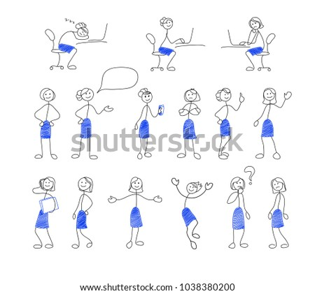 Collection of stick figures. Set of doodle style women in office. Vector illustration