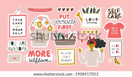 Collection of stickers for daily planner, diaries, scrapbooking isolated. Self love, self care, self support, mental health, compassion, feminism,  concept. Vector hand drawn cartoon illustration.