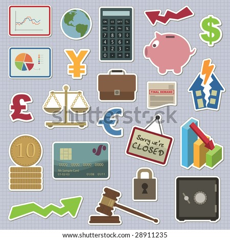 collection of stickers - money and finance