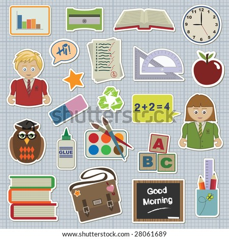 collection of stickers - school and education