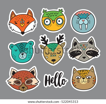 collection of stickers with