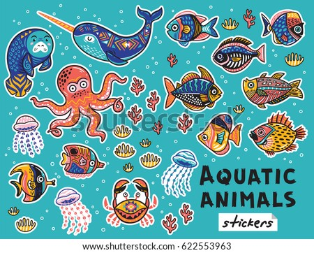 Collection of stickers with Exotic Tropical fishes and aquatic animals. Vector illustration