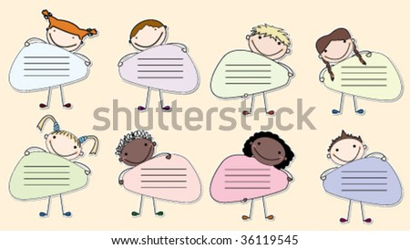Collection of stickers with multiracial kids holding a banners.