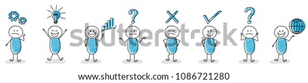 Collection of stickmen with different facial expressions and business icons. Vector.