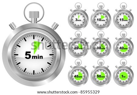 Collection of Stopwatches - Timer in Different Positions - stock vector