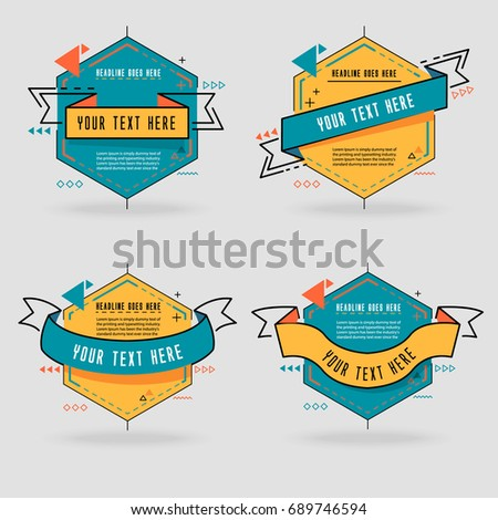 Collection of Styled memphis Ribbons, Labels, Tags, Emblems. Vector