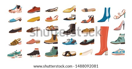 Collection of stylish elegant shoes and boots of different types isolated on white background. Bundle of trendy casual and formal men's and women's footwear. Flat cartoon colorful vector illustration. Foto stock ©