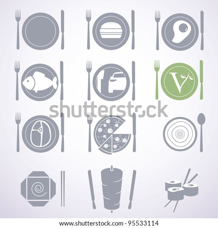 Collection of stylish food signs for different types of restaurants and fast foods. - stock vector
