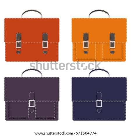 Collection of stylish multicolored men's leather portfolios with pockets and without, with buckles, with white contrast stitching. Portfolio of the businessman. Vector illustration