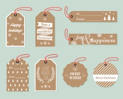 Collection of stylish New year and christmas gift tags. Vector illustration