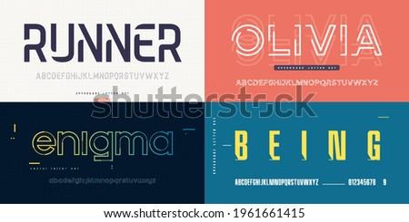 Collection of stylish vector sans serif fonts, letter sets, alphabets.