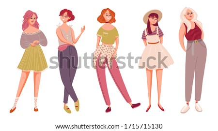 Collection of stylish young women dressed in trendy clothes. Set of fashionable casual and formal outfits. Bundle of cute girls standing in different poses. Flat cartoon colorful vector illustration.