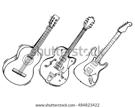 free guitars vector download free vector art stock graphics images Electric Bass Guitar Strings collection of stylized guitar set of musical instruments electric guitar line art