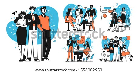 Collection of succesfull team illustrations . Bundle of men and women taking part in business meeting, negotiation, brainstorming, talking to each other. Teamwork concept outline vector illustrations.