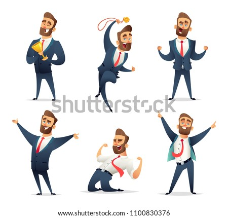 Collection of successful charming businessman  character in different dynamic poses. Business men rejoice in success. Manager enjoys the victory.