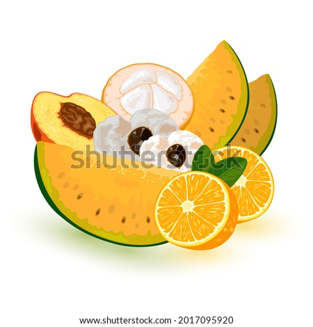 Collection of summer fresh ripe fruits from garden, mellow juicy snack, seasonal product. Vector raw eating, vegetarianism, vitamins idea. Isolated on white background Foto stock ©